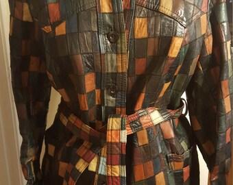 Sale! Vintage 70's Women's Patchwork Leather Jacket