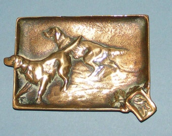 Vintage Brass Ashtray with Setters/Gun Dogs