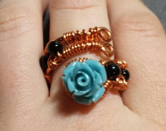 Handmade Rose wire wrapped ring
