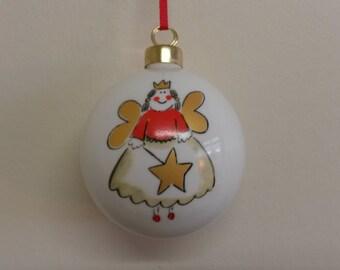 Personalized Fine Bone China Christmas Lora Bauble