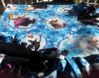 READY TO SHIP Frozen character Knotted Fleece Throw With Antipill Backing