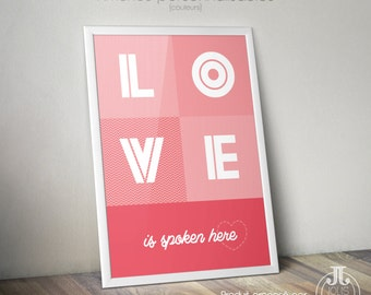 "Poster ""LOVE is spoken here"" [to customize]"