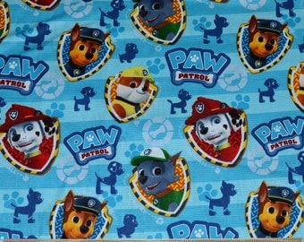 Retired PAW PATROL FABRIC / 1/2 Yard For Quilting / Marshall - Chase - Rocky - Badges / Blue Background