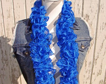 Wildcat Blue Ruffle scarf, Hand Knitted Ruffle scarf, Blue Ruffle Scarf