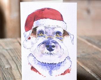 Watercolour Schnauzer Santa Dog Christmas Card, Funny Schnauzer Dog Christmas Card, Funny Dog Watercolor Miniature Schnazuer Christmas Card