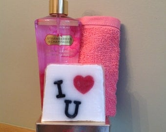 Valentine Gift, Soap, Body Scrub, Fragrance & Towel Wrapped with Pink Organza Bow