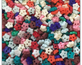 """50 or 100 Star 6mm buttons, mini small buttons tiny buttons scrapbooking sewing crafts 6mm 1/4"""" 6 mm doll buttons, plastic buttons"""