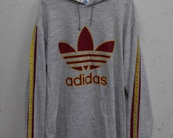 Vintage Adidas treefoil Longsleeve shirt Hooded  90's Big Logo Hip Hop Rare