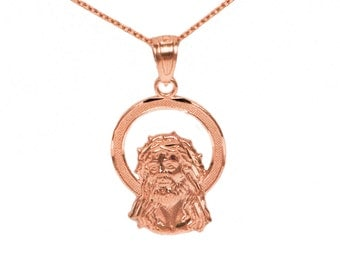 14k Rose Gold Jesus Necklace
