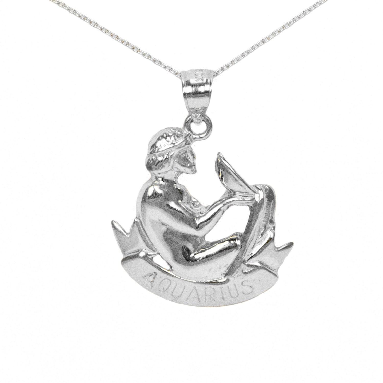 14k White Gold Aquarius Necklace