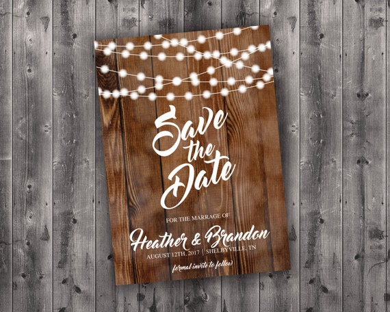 Country Save The Date Printed Wedding Save The Date