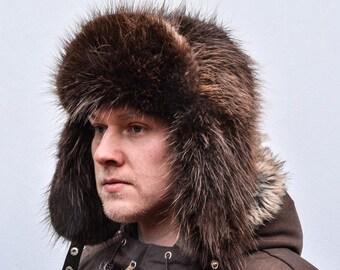 Brown Norwegian Beaver Fur Men's Russian Ushanka Trapper Aviator Hat