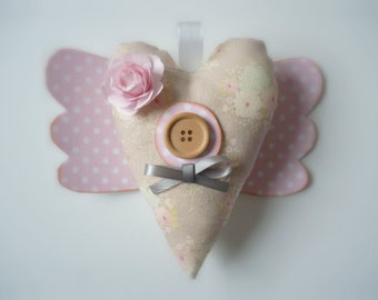 heart fabric vintage romantic tilda St. Valenti