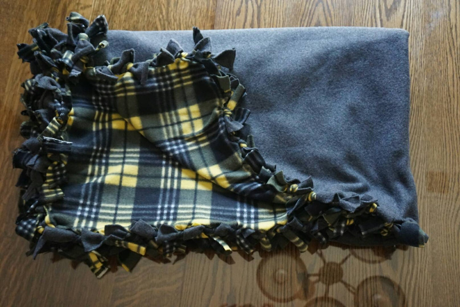 dark grey and yellow plaid fleece blanket. Black Bedroom Furniture Sets. Home Design Ideas