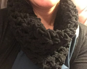 Black Crocheted Cowl