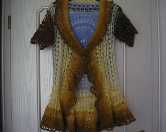 crocheted hippie vest, crochet vest, short sleeve size 38/40.