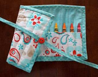 Blue Floral Crayon Roll, Girl Crayon Tote, Turquoise Crayon Roll Up, Red Blue White, Twice as Nice, Crayon Holder, Crayon Roll up, Art Craft