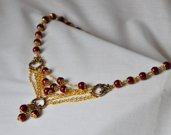 Gothic, choker necklace, victorian, red pearls