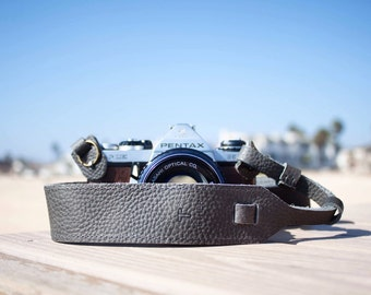 Personalized - Grey Leather Camera Strap for DSL/SLR camera, DSLR Camera Strap. Camera accessories. Canon camera strap. Nikon camera strap.