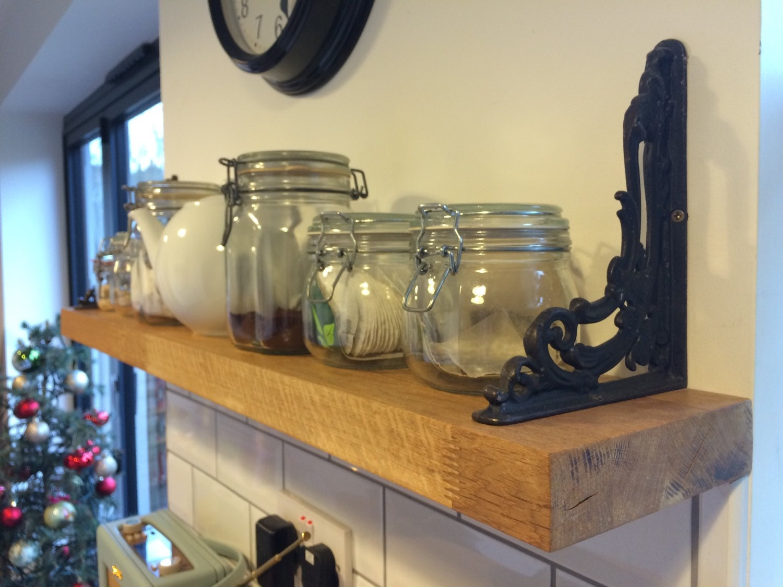 kitchen shelf made from oak worktop offcuts. Black Bedroom Furniture Sets. Home Design Ideas