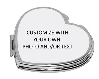 Personalized Heart Shaped Compact Case - Customize with your own photo.