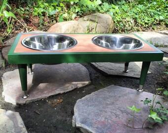 Handmade Raised Dog Food Feeder / Size: Medium