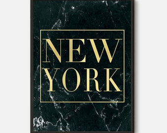 New York City, New York Print, Typography Wall Art, Gold New York Wall Art, New York Decor, Typography Poster, New York Poster, Black Marble