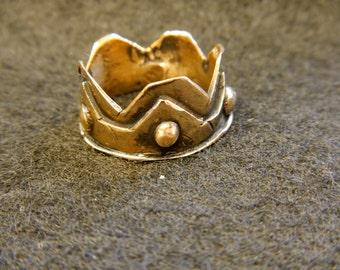 "Ancient Bronze cast ""Crown"" Ring size 8"