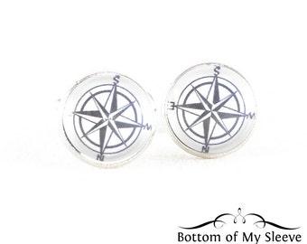 Compass Rose Graphic Silver Cufflinks