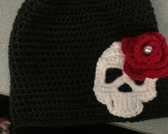 Black cap with white skull and red rose