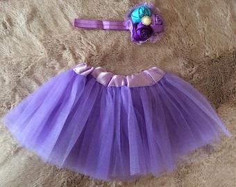Newborn purple tutu & headband set