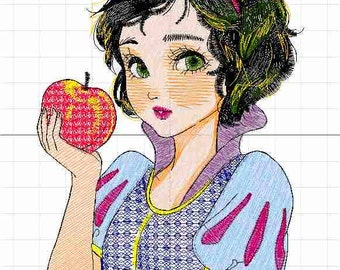 snow white machine embroidery