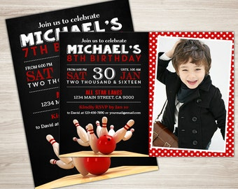 Bowling Birthday Invitation. Bowling Invitation. Bowling Invite. 8th 7th 9th. Printable Bowling Theme Birthday Party. Red. Bowling Ball