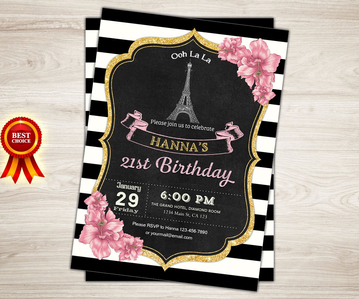 Paris invitation paris 21st birthday invitation women black gold paris invitation paris 21st birthday invitation women black gold white stripes paris theme party invitation filmwisefo