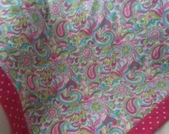 Baby Receiving Blanket, Flannel Baby Blanket, Baby Girl Receiving Blanket,Bright Pink polka dots with multi-colored paisley print