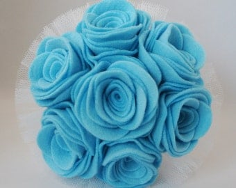 Blue Felt Flower Wedding Bouquet, Alternative Bouquet, Keepsake Bouquet