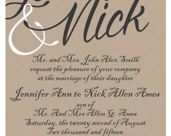 Kraft Elegant Wedding Invitation