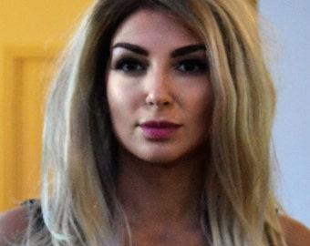"""Synthetic Straight Layered Lace Front Wig Brown/Golden Blonde /Light Blonde Mix 22"""""""