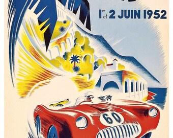 Vintage 1952 Monaco Grand Prix Poster Print