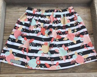 Black & white floral print skirt, infant/toddler/girl skirt, handmade clothing