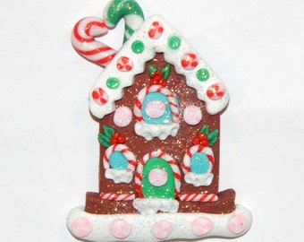 Handmade Christmas Gingerbread House Polymer Clay Pendant/Magnet/Bead/Figure