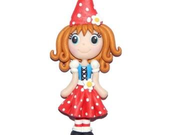 Gnome Girl Costume Miniature Fairy Garden Handmade Polymer Clay Pendant/Magnet/Bead/Figure - Ornament - Pin