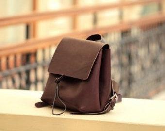 Geniune leather SMALL brown backpack / rucksack
