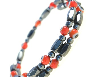 Magnetic Hematite Wrap Bracelet anklet with Red Evil Eye Beads - Good for Protection and Healing - 91177