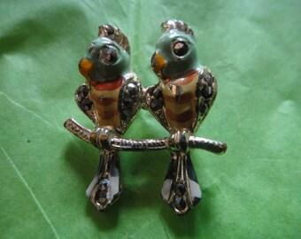 Vintage Parrots Birds Rhinestones Brooch Enamel