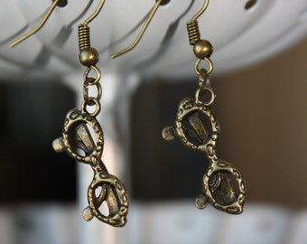 60's Style Dangle Glasses Earrings