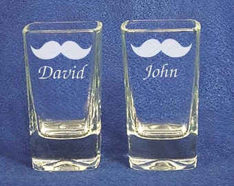 Engraved personalized mustache groomsman gifts wedding party shot glasses