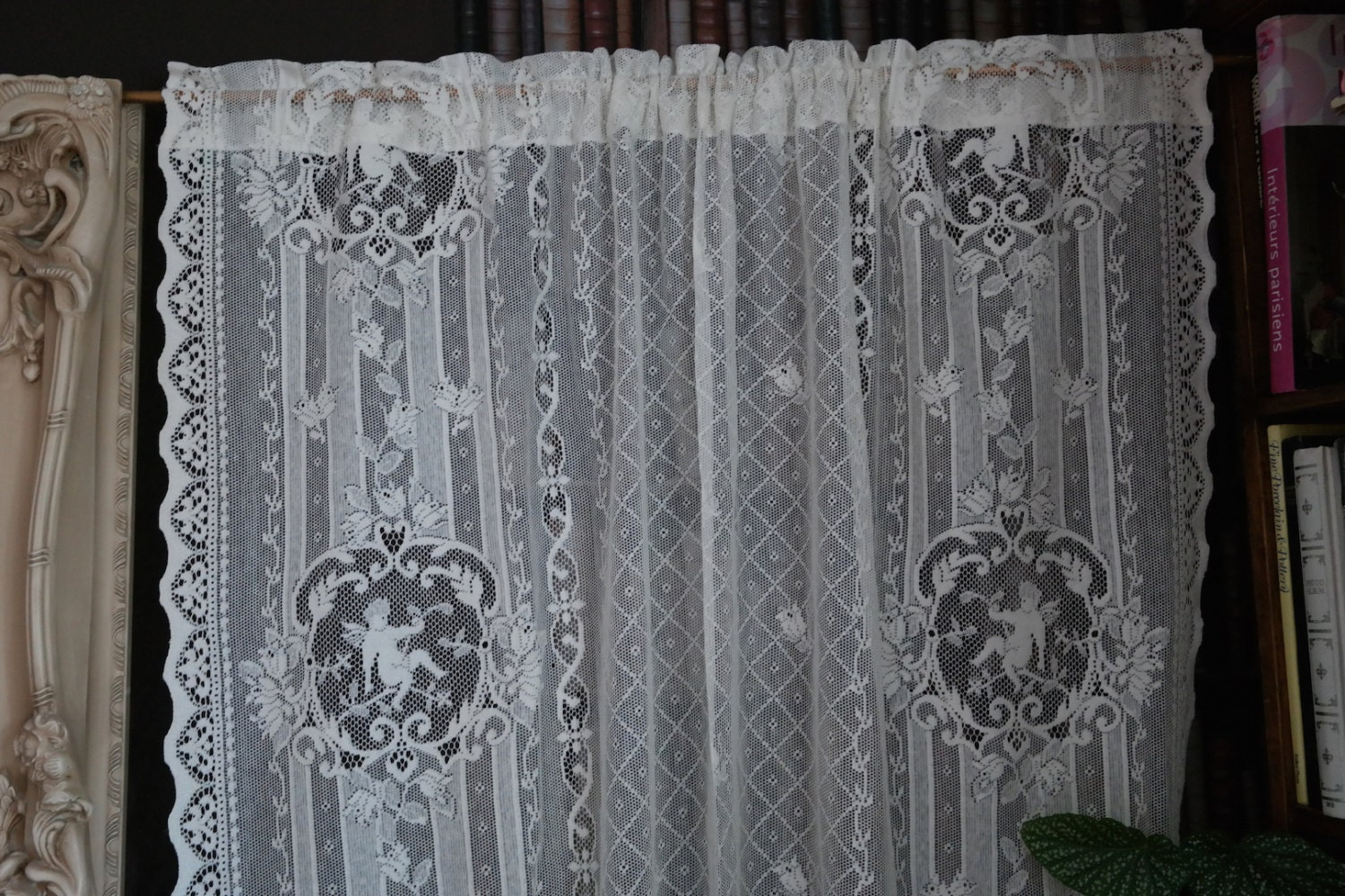 cherub angel cream cotton lace curtain antique by chateaufelicien