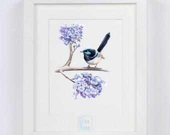 Blue Wren // Blue Bird Triptych // Watercolour Print
