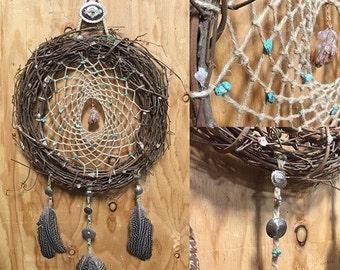 Handmade Earthy Dream Catcher w/ Quartz and Southwestern Details